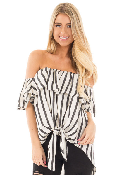 Black and White Striped Off the Shoulder Top front close up