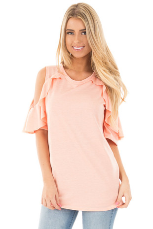 Peach Ruffled Cold Shoulder Top with Elbow Length Sleeves front close up