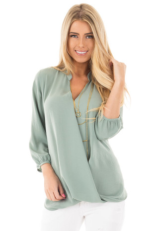 Light Sage Wrap Style V Neck Blouse front close up