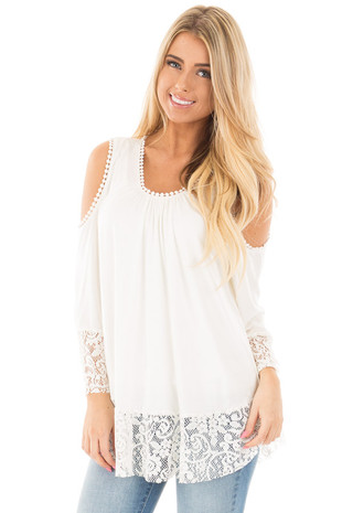 Ivory Cold Shoulder Blouse with Lace Trim and Cuffs front close up