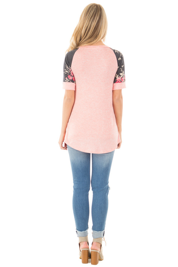 Coral Two Tone Baseball Tee with Charcoal Floral Sleeves back full body