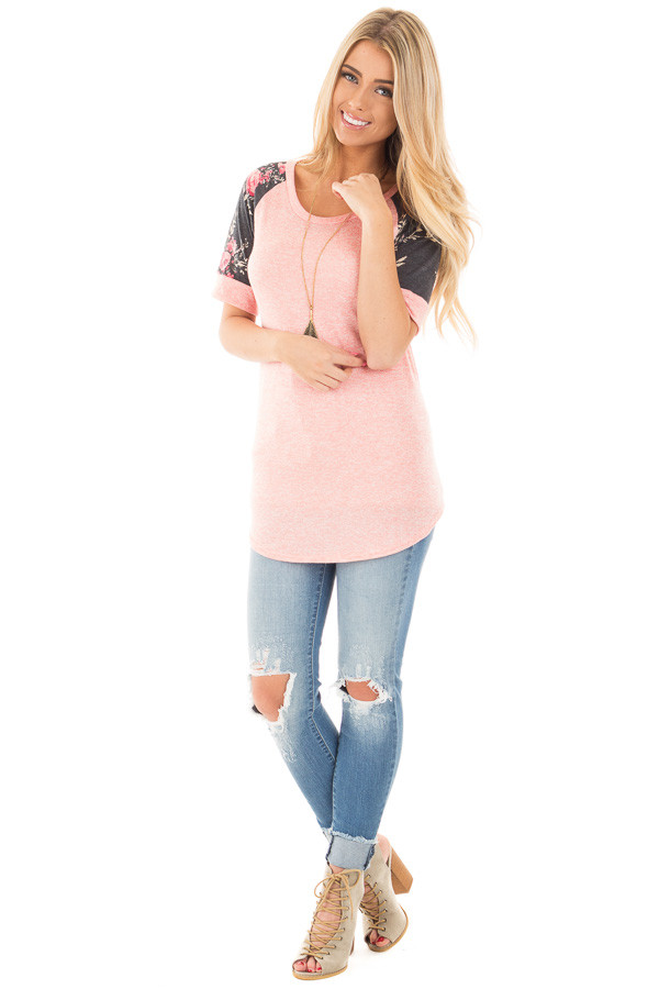 Coral Two Tone Baseball Tee with Charcoal Floral Sleeves front full body