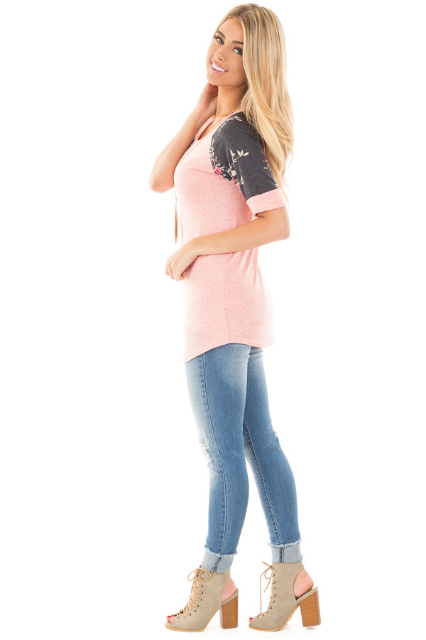 Coral Two Tone Baseball Tee with Charcoal Floral Sleeves side full body