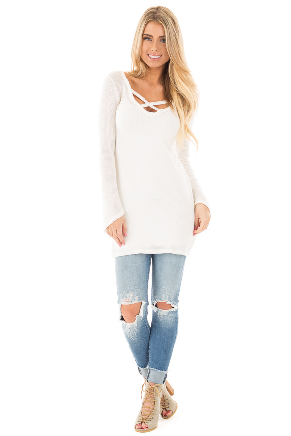 Ivory Thermal Long Tee with Criss Cross Neck and Side Slits front full body