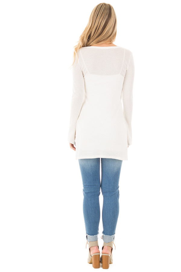 Ivory Thermal Long Tee with Criss Cross Neck and Side Slits back full body