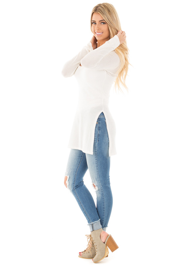 Ivory Thermal Long Tee with Criss Cross Neck and Side Slits side full body