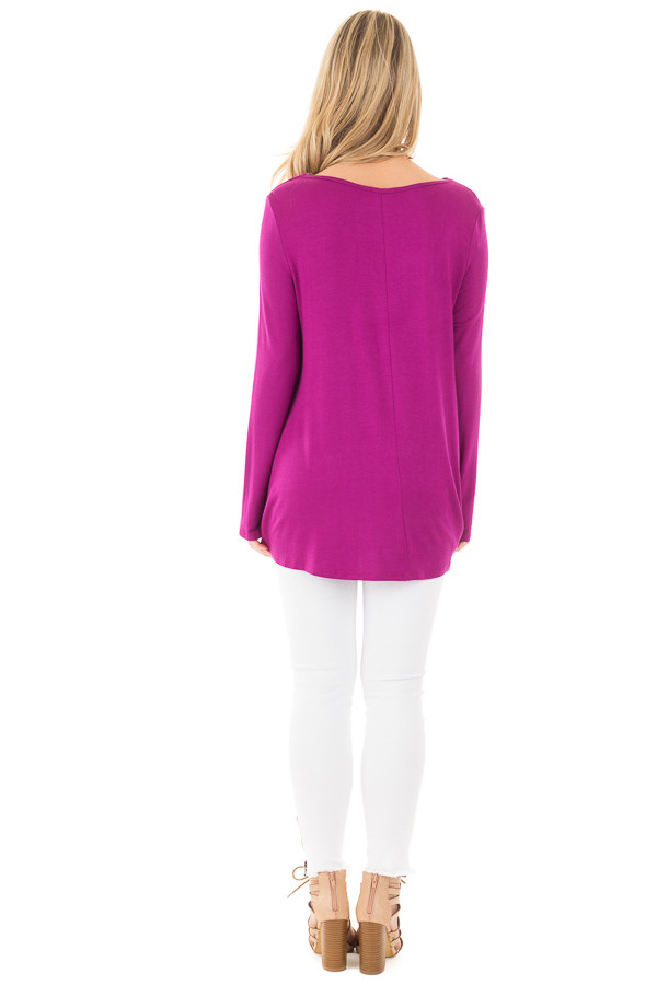 Deep Magenta Long Sleeve Top with Criss Cross Detail back full body