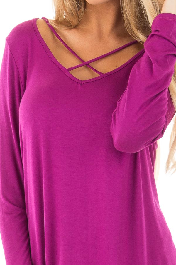 Deep Magenta Long Sleeve Top with Criss Cross Detail detail