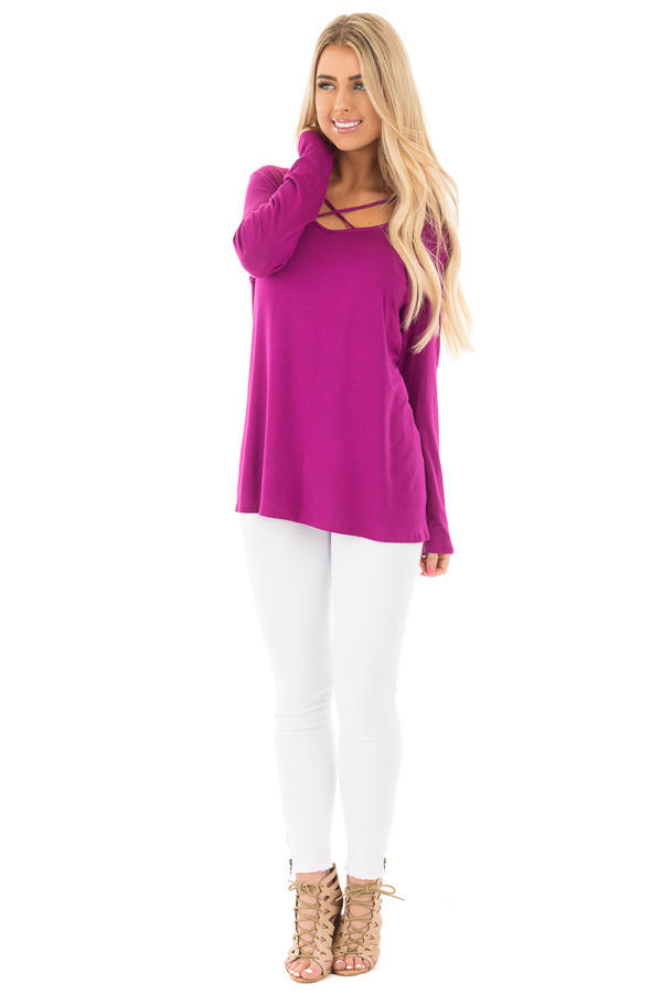 Deep Magenta Long Sleeve Top with Criss Cross Detail front full body