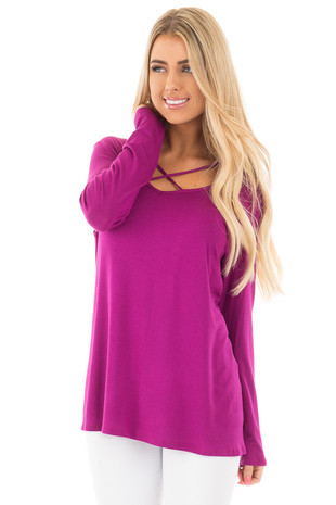Deep Magenta Long Sleeve Top with Criss Cross Detail front close up