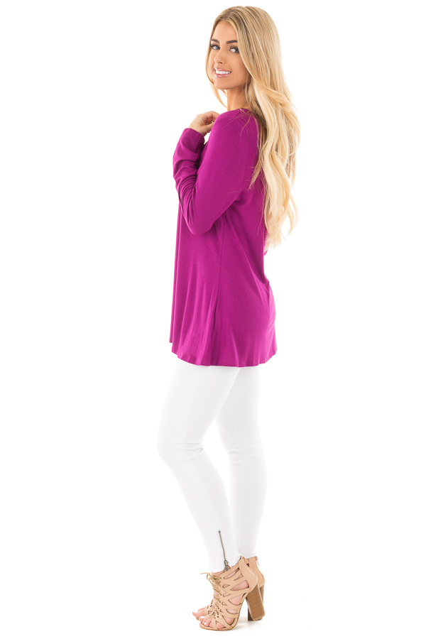 Deep Magenta Long Sleeve Top with Criss Cross Detail side full body