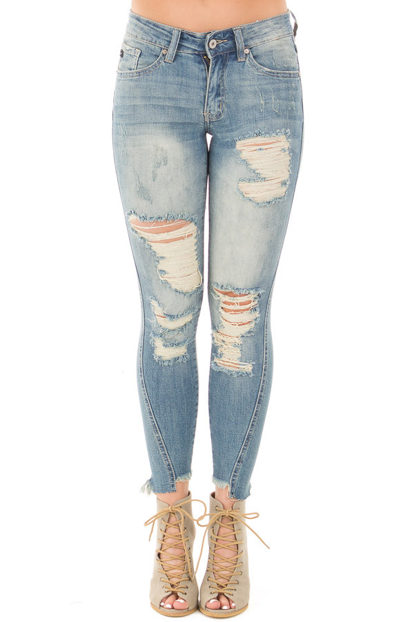 Medium Wash Destroyed Skinny Jeans with Frayed Cuffs front view