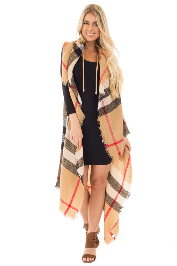 Camel Fringed Classic Plaid Cardigan front full body