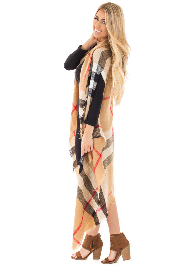Camel Fringed Classic Plaid Cardigan side full body