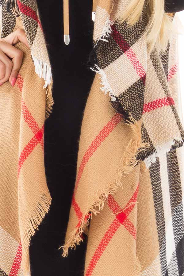 Camel Fringed Classic Plaid Cardigan detail