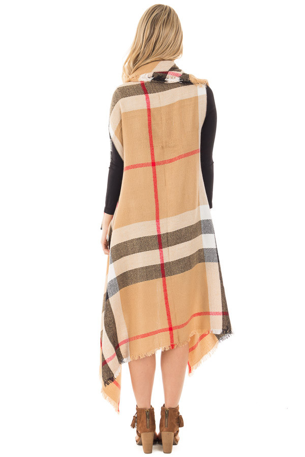 Camel Fringed Classic Plaid Cardigan back full body