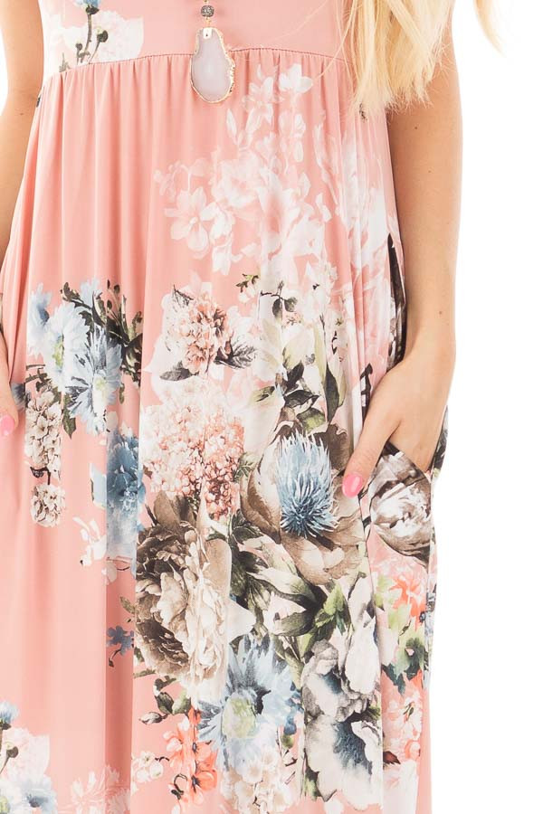 Blush Floral Print Racerback Maxi Dress with Side Pockets detail