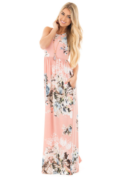 Blush Floral Print Racerback Maxi Dress with Side Pockets front full body