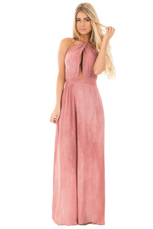 Mauve Halter Top Maxi Dress with Key Hole Detail Bodice front full body