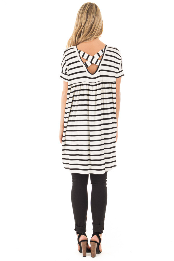 Black and White Striped Criss Cross Back Tunic back full body