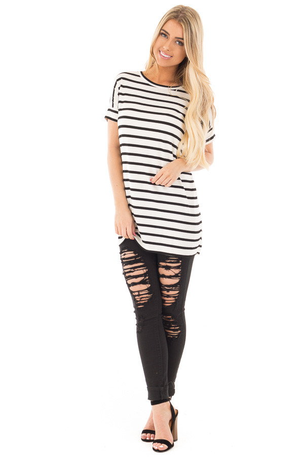 Black and White Striped Criss Cross Back Tunic front full body