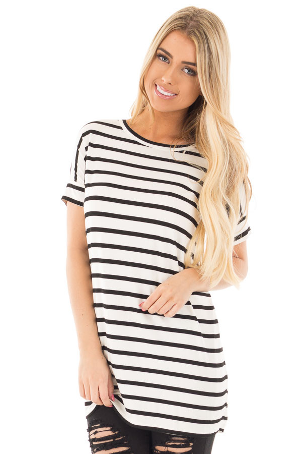 Black and White Striped Criss Cross Back Tunic front close up
