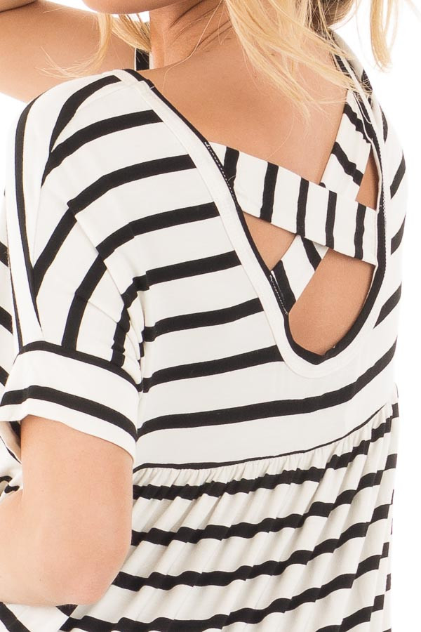 Black and White Striped Criss Cross Back Tunic detail