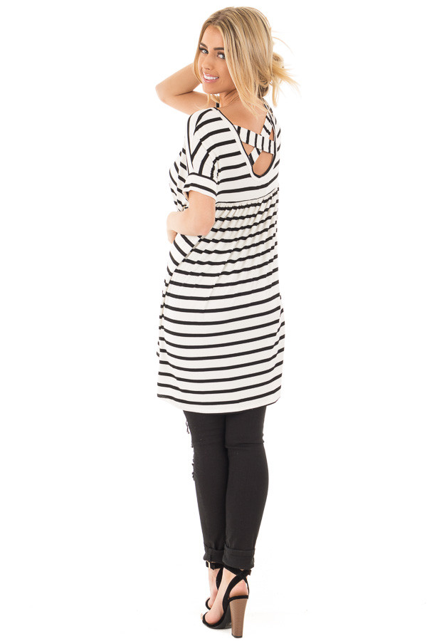 Black and White Striped Criss Cross Back Tunic back side full body