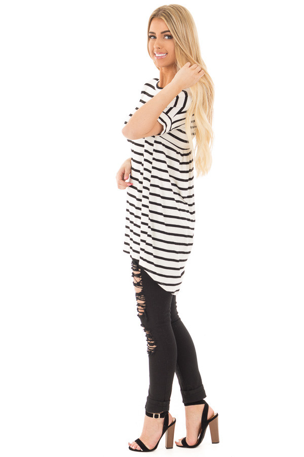 Black and White Striped Criss Cross Back Tunic Dress side full body