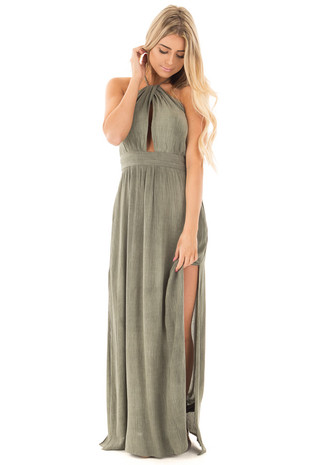 Olive Halter Top Maxi Dress with Key Hole Detail Bodice front full body