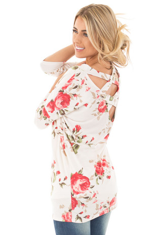 Ivory Floral Cut Out Neck Detail and Criss Cross Back back side close up
