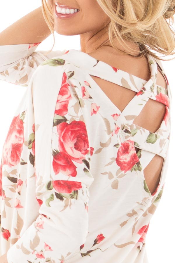 Ivory Floral Cut Out Neck Detail and Criss Cross Back detail