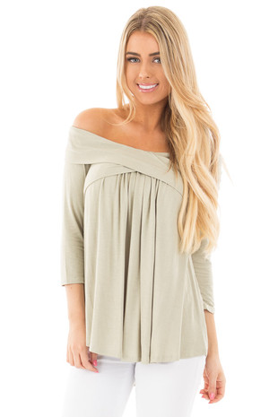 Sage Off the Shoulder Fold Over Criss Cross Detail Top front close up