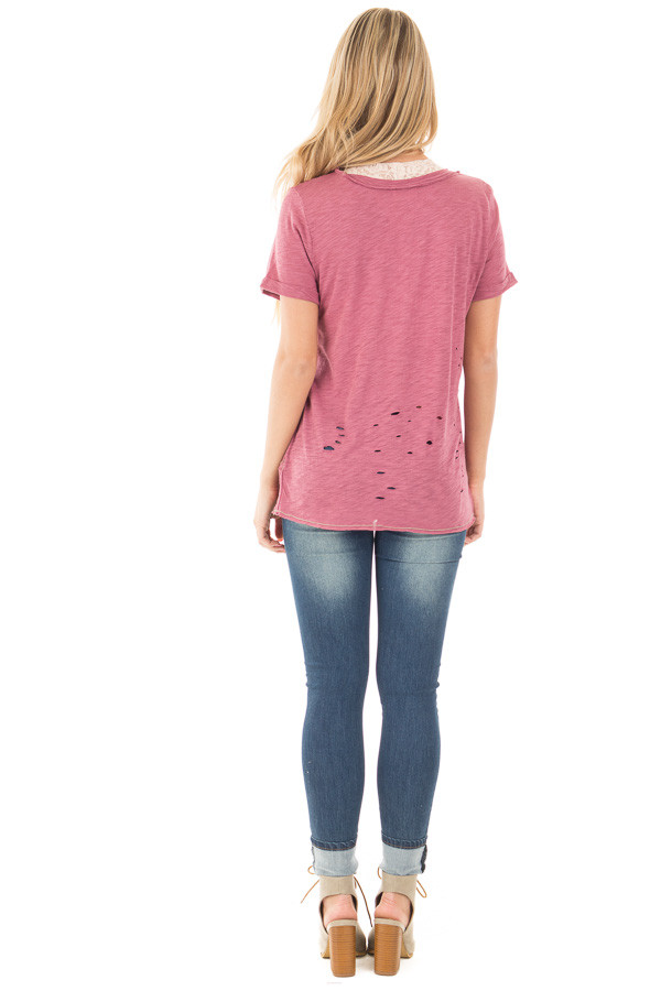Mauve Distressed Graphic Tee with Sheer Deep V Neck back full body