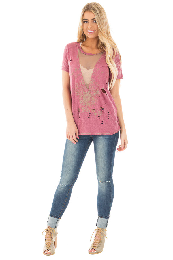 Mauve Distressed Graphic Tee with Sheer Deep V Neck front full body