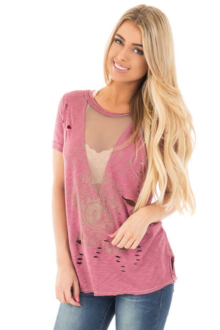 Mauve Distressed Graphic Tee with Sheer Deep V Neck front close up