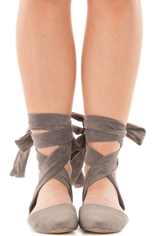 Taupe Faux Suede Ankle Wrap Ballet Flats front view