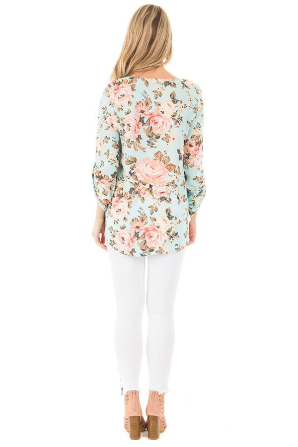 Mint Long Sleeve Floral Hi-Low Wrap with Criss Cross Top back full body