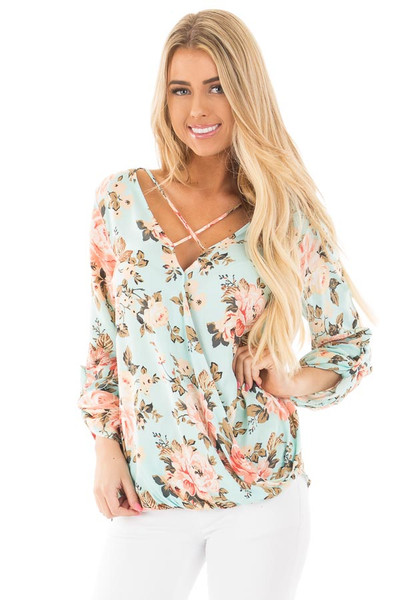 Mint Long Sleeve Floral Hi-Low Wrap with Criss Cross Top front close up