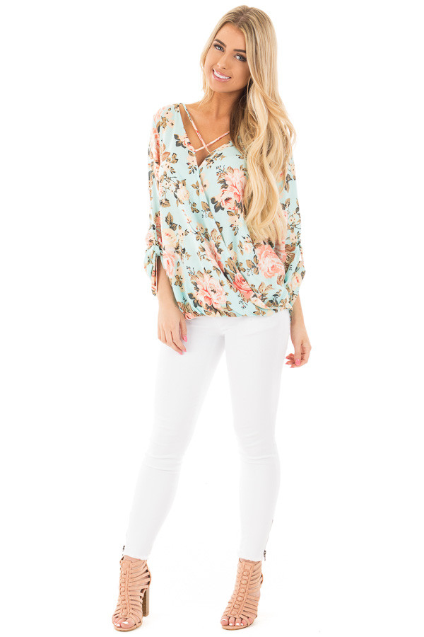 Mint Long Sleeve Floral Hi-Low Wrap with Criss Cross Top front full body