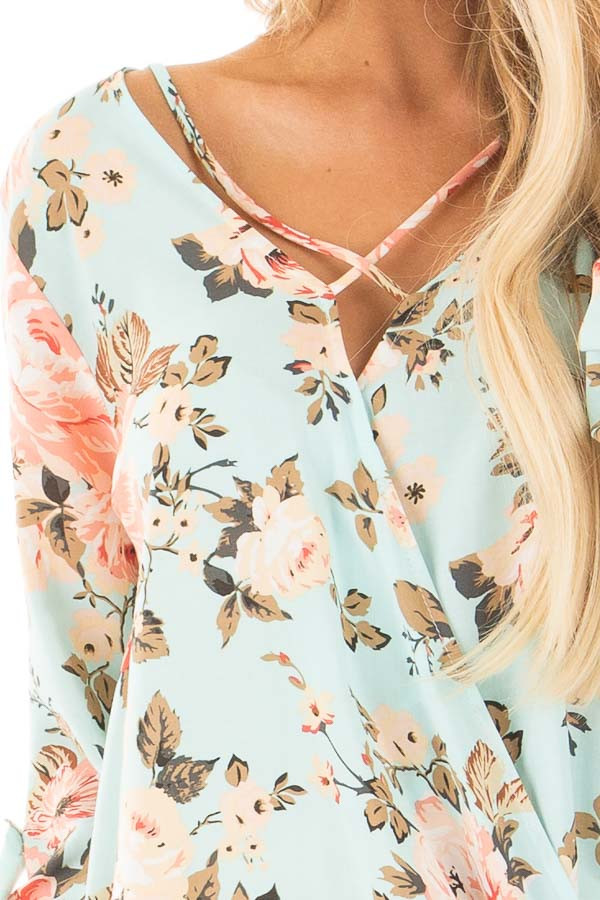 Mint Long Sleeve Floral Hi-Low Wrap with Criss Cross Top detail