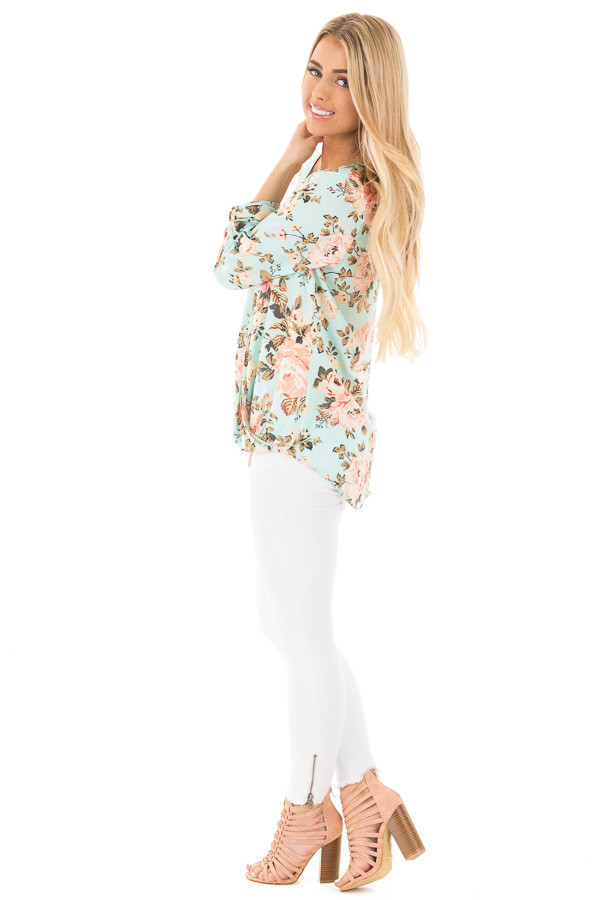 Mint Long Sleeve Floral Hi-Low Wrap with Criss Cross Top side full body