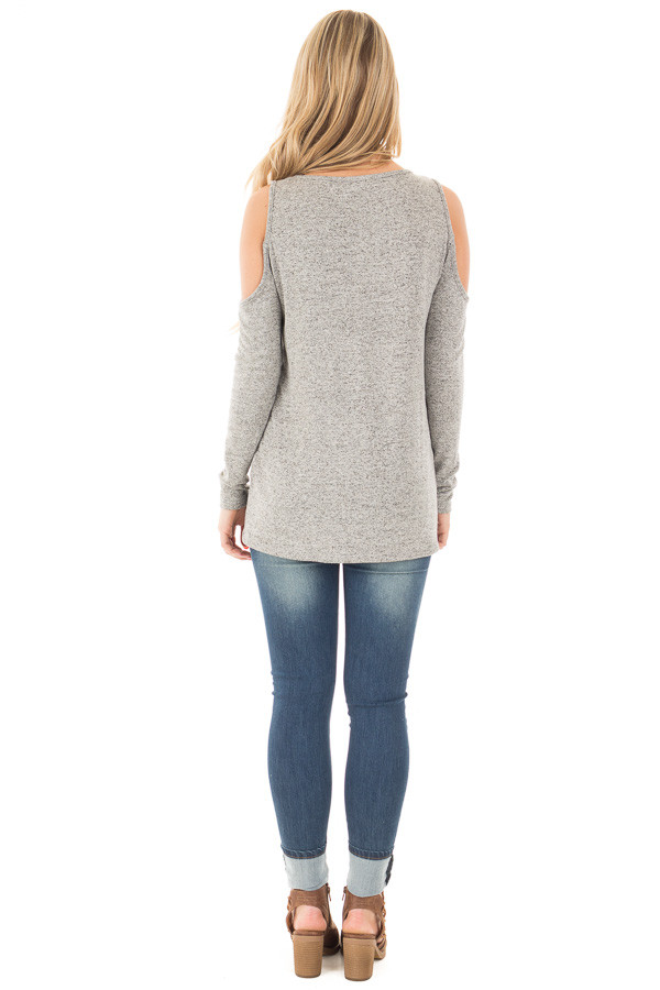 Heather Grey Loose Fit Cold Shoulder Long Sleeve Top back full body