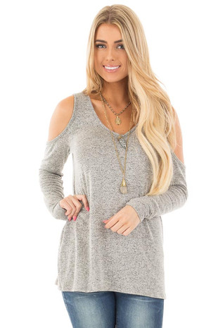 Heather Grey Loose Fit Cold Shoulder Long Sleeve Top front close up
