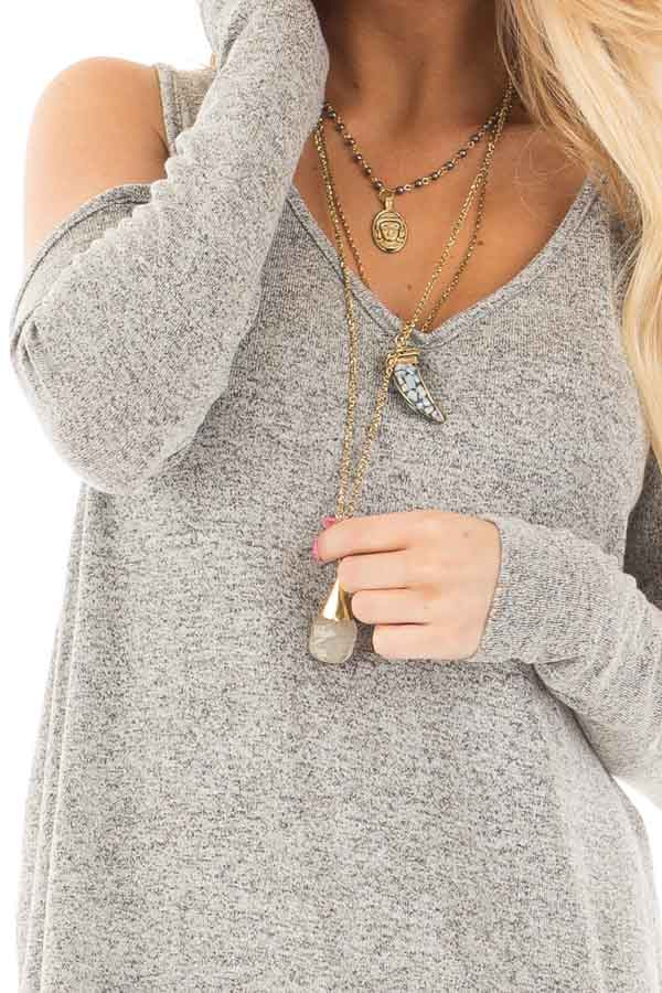 Heather Grey Loose Fit Cold Shoulder Long Sleeve Top detail