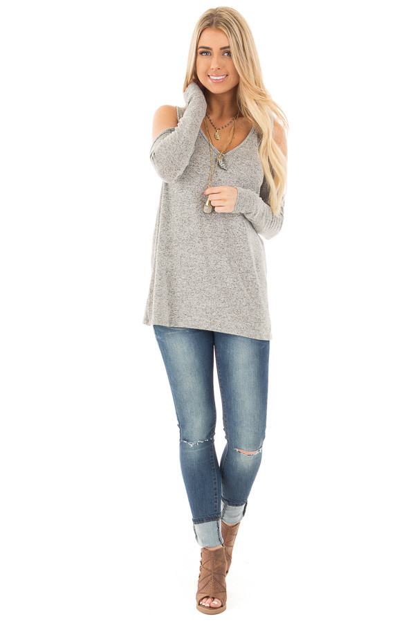 Heather Grey Loose Fit Cold Shoulder Long Sleeve Top front full body