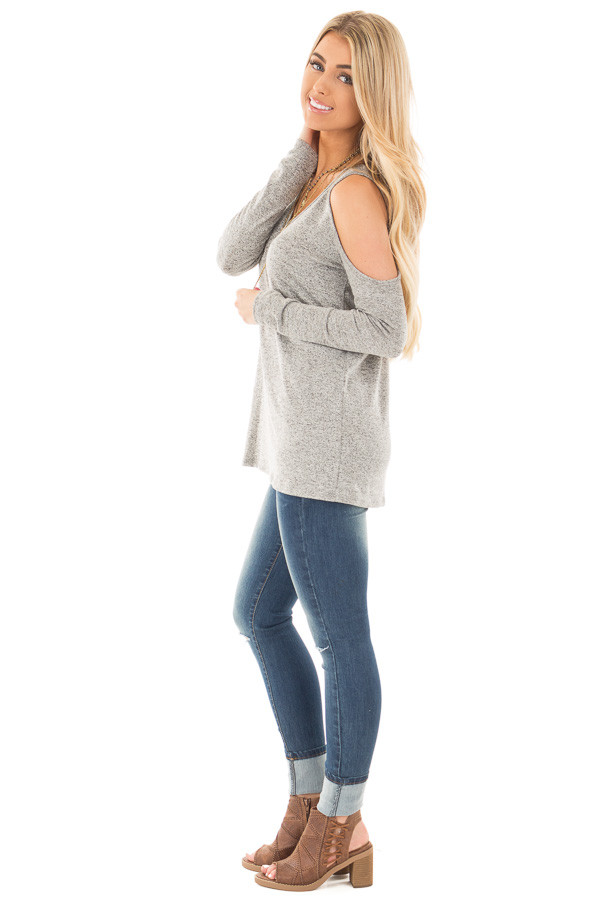 Heather Grey Loose Fit Cold Shoulder Long Sleeve Top side full body