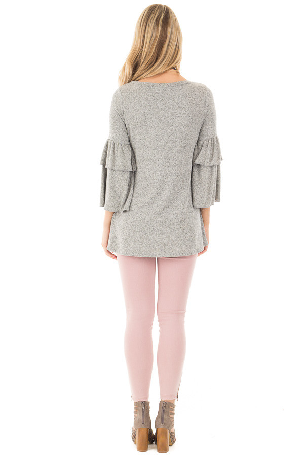 Heather Grey Tiered Ruffle Sleeve Detail Top back full body