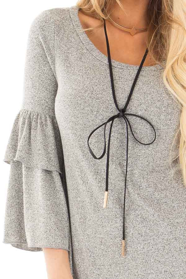 Heather Grey Tiered Ruffle Sleeve Detail Top detail