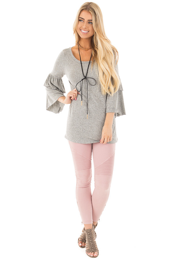 Heather Grey Tiered Ruffle Sleeve Detail Top front full body